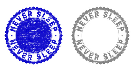 Grunge NEVER SLEEP stamp seals isolated on a white background. Rosette seals with distress texture in blue and grey colors. Vector rubber stamp imprint of NEVER SLEEP caption inside round rosette.