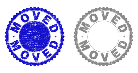 Grunge MOVED stamp seals isolated on a white background. Rosette seals with grunge texture in blue and gray colors. Vector rubber watermark of MOVED text inside round rosette. Stock Illustratie
