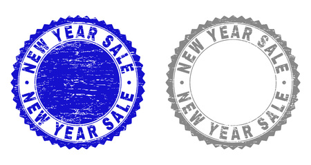 Grunge NEW YEAR SALE stamp seals isolated on a white background. Rosette seals with grunge texture in blue and gray colors. Vector rubber stamp imprint of NEW YEAR SALE title inside round rosette.