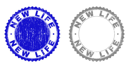 Grunge NEW LIFE stamp seals isolated on a white background. Rosette seals with grunge texture in blue and gray colors. Vector rubber stamp imitation of NEW LIFE tag inside round rosette.