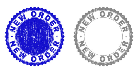 Grunge NEW ORDER stamp seals isolated on a white background. Rosette seals with grunge texture in blue and gray colors. Vector rubber overlay of NEW ORDER tag inside round rosette.