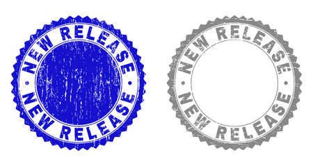 Grunge NEW RELEASE stamp seals isolated on a white background. Rosette seals with grunge texture in blue and grey colors. Vector rubber overlay of NEW RELEASE caption inside round rosette. 向量圖像