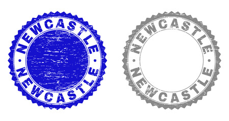 Grunge NEWCASTLE stamp seals isolated on a white background. Rosette seals with grunge texture in blue and grey colors. Vector rubber stamp imitation of NEWCASTLE title inside round rosette.