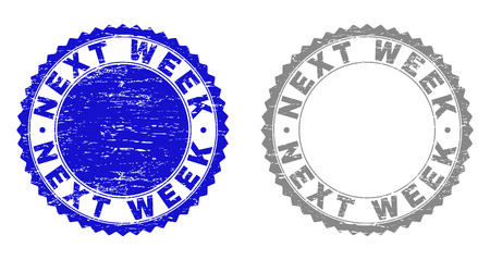Grunge NEXT WEEK stamp seals isolated on a white background. Rosette seals with grunge texture in blue and grey colors. Vector rubber stamp imprint of NEXT WEEK caption inside round rosette. Illustration
