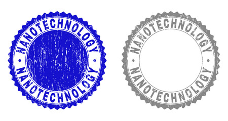 Grunge NANOTECHNOLOGY stamp seals isolated on a white background. Rosette seals with grunge texture in blue and grey colors. Vector rubber stamp imprint of NANOTECHNOLOGY text inside round rosette. Illustration