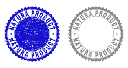 Grunge NATURA PRODUCT stamp seals isolated on a white background. Rosette seals with grunge texture in blue and grey colors. Vector rubber stamp imprint of NATURA PRODUCT title inside round rosette.