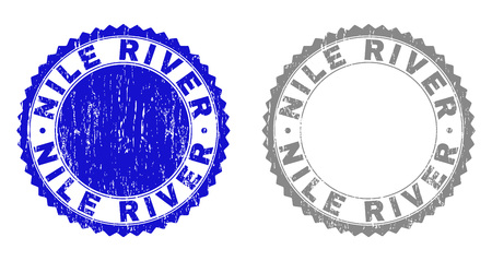 Grunge NILE RIVER stamp seals isolated on a white background. Rosette seals with distress texture in blue and grey colors. Vector rubber stamp imprint of NILE RIVER label inside round rosette.