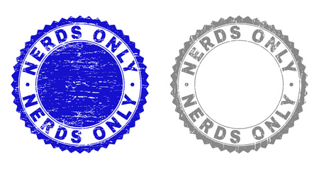 Grunge NERDS ONLY stamp seals isolated on a white background. Rosette seals with grunge texture in blue and grey colors. Vector rubber stamp imitation of NERDS ONLY title inside round rosette.
