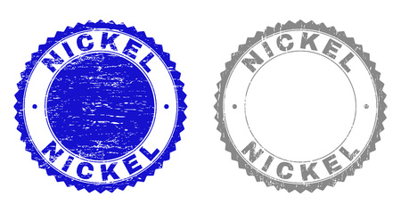Grunge NICKEL stamp seals isolated on a white background. Rosette seals with distress texture in blue and gray colors. Vector rubber stamp imprint of NICKEL caption inside round rosette.