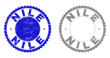 Grunge NILE stamp seals isolated on a white background. Rosette seals with grunge texture in blue and grey colors. Vector rubber stamp imitation of NILE tag inside round rosette. Иллюстрация