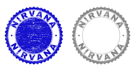 Grunge NIRVANA stamp seals isolated on a white background. Rosette seals with grunge texture in blue and grey colors. Vector rubber overlay of NIRVANA caption inside round rosette.