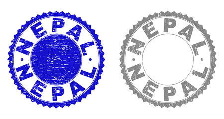 Grunge NEPAL watermarks isolated on a white background. Rosette seals with grunge texture in blue and grey colors. Vector rubber stamp imitation of NEPAL label inside round rosette. Ilustração
