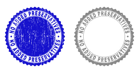 Grunge NO ADDED PRESERVATIVES stamp seals isolated on a white background. Rosette seals with grunge texture in blue and gray colors.