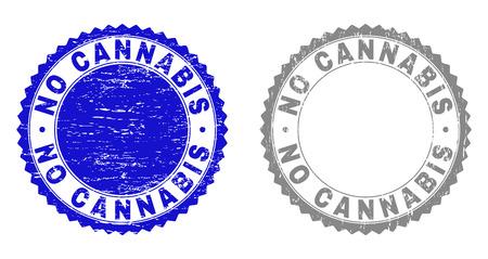 Grunge KEINE CANNABIS-Stempelsiegel isoliert auf weißem Hintergrund. Rosettendichtungen mit Grunge-Textur in blauen und grauen Farben. Vektor-Stempel-Aufdruck von NO CANNABIS-Beschriftung innerhalb der runden Rosette. Vektorgrafik