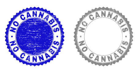 Grunge NO CANNABIS stamp seals isolated on a white background. Rosette seals with grunge texture in blue and grey colors. Vector rubber stamp imprint of NO CANNABIS caption inside round rosette.