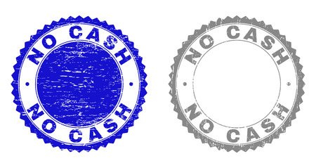 Grunge NO CASH stamp seals isolated on a white background. Rosette seals with grunge texture in blue and grey colors. Vector rubber stamp imprint of NO CASH text inside round rosette.