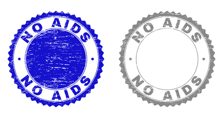 Grunge NO AIDS stamp seals isolated on a white background. Rosette seals with grunge texture in blue and grey colors. Vector rubber stamp imitation of NO AIDS label inside round rosette.