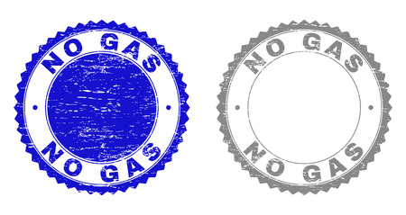 Grunge NO GAS stamp seals isolated on a white background. Rosette seals with grunge texture in blue and grey colors. Vector rubber stamp imprint of NO GAS title inside round rosette.