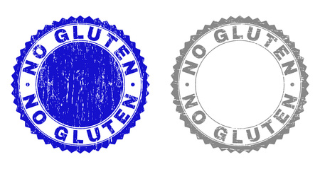 Grunge NO GLUTEN stamp seals isolated on a white background. Rosette seals with grunge texture in blue and gray colors. Vector rubber stamp imprint of NO GLUTEN text inside round rosette.