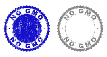Grunge NO GMO stamp seals isolated on a white background. Rosette seals with grunge texture in blue and grey colors. Vector rubber stamp imprint of NO GMO title inside round rosette. Иллюстрация