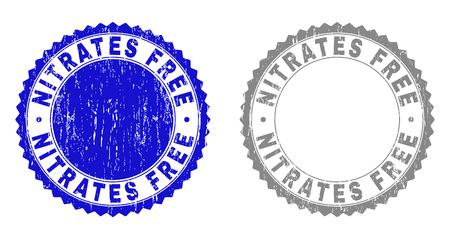 Grunge NITRATES FREE stamp seals isolated on a white background. Rosette seals with distress texture in blue and gray colors. Vector rubber stamp imitation of NITRATES FREE tag inside round rosette.