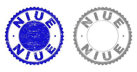 Grunge NIUE stamp seals isolated on a white background. Rosette seals with grunge texture in blue and grey colors. Vector rubber stamp imitation of NIUE label inside round rosette.