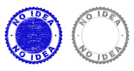 Grunge NO IDEA stamp seals isolated on a white background. Rosette seals with grunge texture in blue and gray colors. Vector rubber overlay of NO IDEA caption inside round rosette.