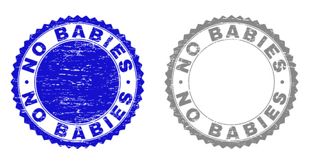 Grunge NO BABIES stamp seals isolated on a white background. Rosette seals with grunge texture in blue and grey colors. Vector rubber watermark of NO BABIES caption inside round rosette. Иллюстрация