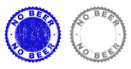 Grunge NO BEER stamp seals isolated on a white background. Rosette seals with grunge texture in blue and gray colors. Vector rubber stamp imitation of NO BEER text inside round rosette.