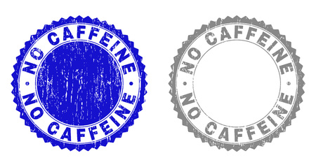 Grunge NO CAFFEINE stamp seals isolated on a white background. Rosette seals with grunge texture in blue and grey colors. Vector rubber overlay of NO CAFFEINE text inside round rosette. Vectores