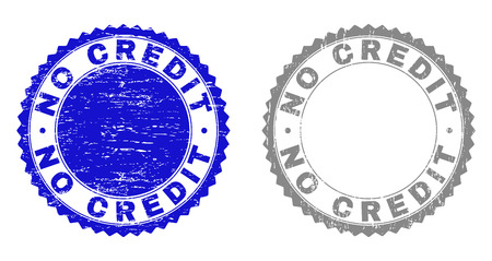 Grunge NO CREDIT stamp seals isolated on a white background. Rosette seals with grunge texture in blue and gray colors. Vector rubber watermark of NO CREDIT tag inside round rosette. Çizim