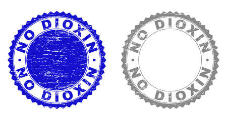 Grunge NO DIOXIN stamp seals isolated on a white background. Rosette seals with grunge texture in blue and gray colors. Vector rubber stamp imitation of NO DIOXIN label inside round rosette.
