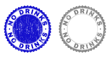 Grunge NO DRINKS stamp seals isolated on a white background. Rosette seals with distress texture in blue and grey colors. Vector rubber stamp imitation of NO DRINKS caption inside round rosette.