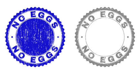 Grunge NO EGGS stamp seals isolated on a white background. Rosette seals with grunge texture in blue and grey colors. Vector rubber stamp imprint of NO EGGS title inside round rosette. 向量圖像