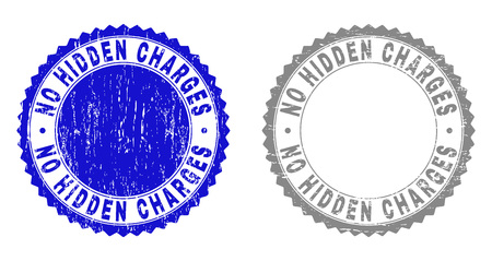 Grunge NO HIDDEN CHARGES stamps isolated on a white background. Rosette seals with grunge texture in blue and grey colors.