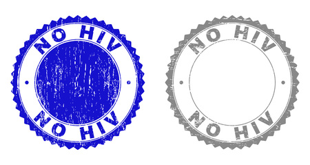 Grunge NO HIV stamp seals isolated on a white background. Rosette seals with distress texture in blue and gray colors. Vector rubber stamp imitation of NO HIV caption inside round rosette.