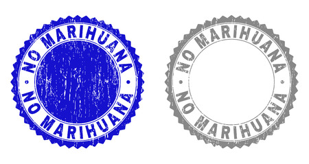 Grunge NO MARIHUANA stamp seals isolated on a white background. Rosette seals with distress texture in blue and grey colors. Vector rubber stamp imitation of NO MARIHUANA text inside round rosette. Иллюстрация