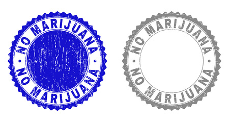 Grunge NO MARIJUANA stamp seals isolated on a white background. Rosette seals with grunge texture in blue and grey colors. Vector rubber stamp imitation of NO MARIJUANA text inside round rosette.