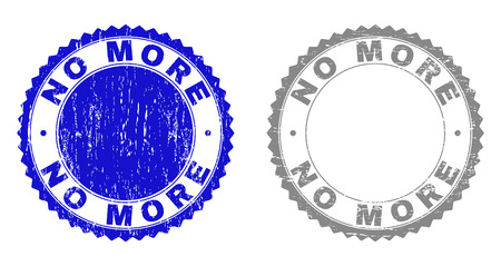 Grunge NO MORE stamp seals isolated on a white background. Rosette seals with grunge texture in blue and grey colors. Vector rubber overlay of NO MORE text inside round rosette. Illustration