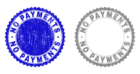 Grunge NO PAYMENTS stamp seals isolated on a white background. Rosette seals with grunge texture in blue and grey colors. Vector rubber stamp imitation of NO PAYMENTS caption inside round rosette.