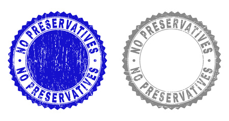 Grunge NO PRESERVATIVES stamp seals isolated on a white background. Rosette seals with grunge texture in blue and gray colors. Иллюстрация