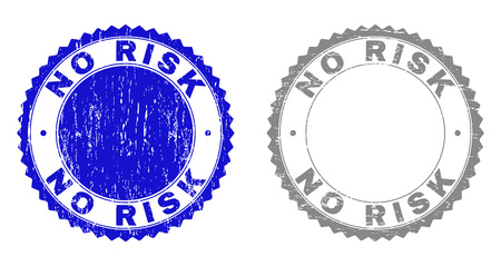 Grunge NO RISK stamp seals isolated on a white background. Rosette seals with grunge texture in blue and grey colors. Vector rubber stamp imitation of NO RISK text inside round rosette.