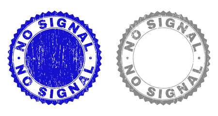 Grunge NO SIGNAL stamp seals isolated on a white background. Rosette seals with grunge texture in blue and grey colors. Vector rubber watermark of NO SIGNAL title inside round rosette.
