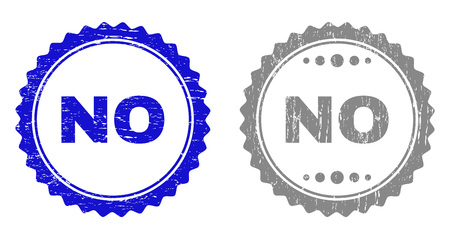 Grunge NO stamp seals isolated on a white background. Rosette seals with grunge texture in blue and gray colors. Vector rubber stamp imitation of NO text inside round rosette.