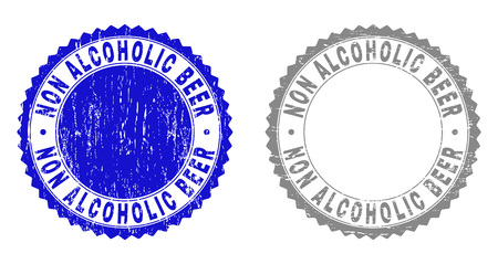 Grunge NON ALCOHOLIC BEER stamp seals isolated on a white background. Rosette seals with grunge texture in blue and grey colors.