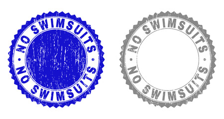 Grunge NO SWIMSUITS stamp seals isolated on a white background. Rosette seals with distress texture in blue and grey colors. Vector rubber stamp imitation of NO SWIMSUITS caption inside round rosette.