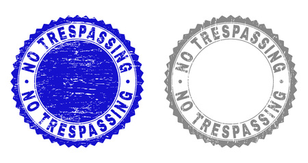Grunge NO TRESPASSING stamp seals isolated on a white background. Rosette seals with distress texture in blue and gray colors. Vector rubber watermark of NO TRESPASSING label inside round rosette. Illustration