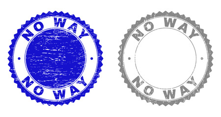 Grunge NO WAY stamp seals isolated on a white background. Rosette seals with grunge texture in blue and grey colors. Vector rubber stamp imitation of NO WAY tag inside round rosette.