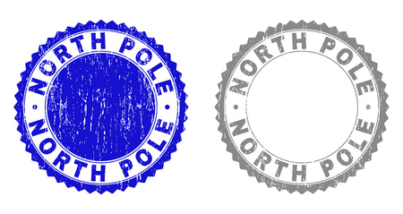 Grunge NORTH POLE stamp seals isolated on a white background. Rosette seals with grunge texture in blue and grey colors. Vector rubber stamp imprint of NORTH POLE caption inside round rosette.