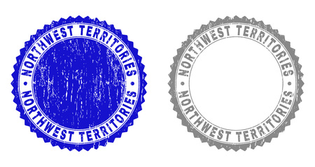 Grunge NORTHWEST TERRITORIES stamp seals isolated on a white background. Rosette seals with grunge texture in blue and grey colors.